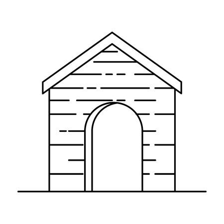 Cute wooden pet house vector illustration design Illustration