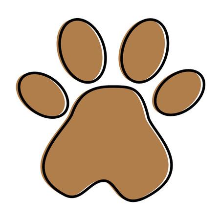ontwerp van de het pictogram het vectorillustratie van de voetafdrukpoot mascotte