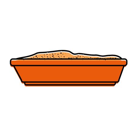 sandbox cat isolated icon vector illustration design