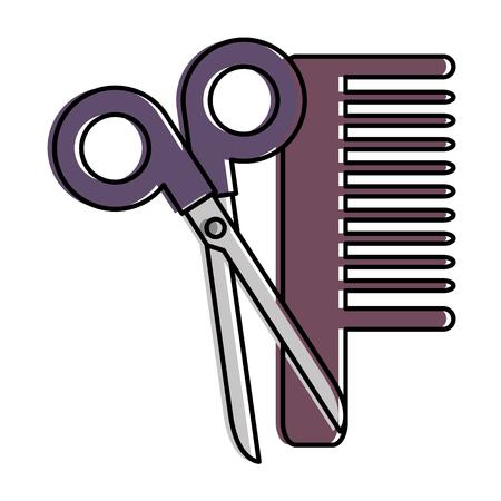 scissors tool with comb vector illustration design Stock fotó - 96044162