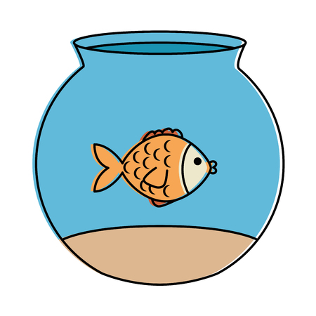 cute fish pet in aquarium vector illustration design