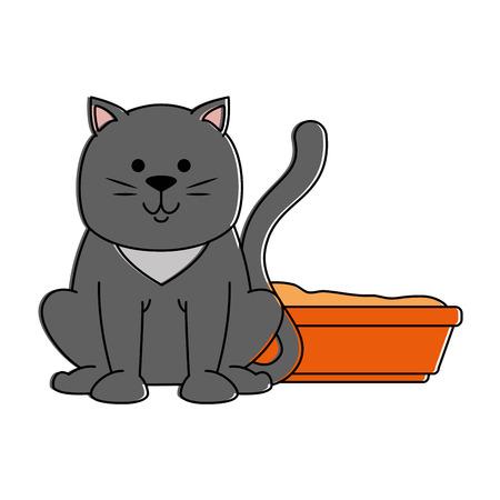 cute cat mascot with sand box vector illustration design Illustration