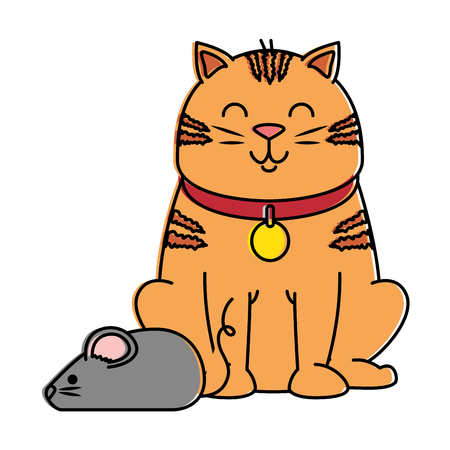 cute cat mascot with mouse vector illustration design