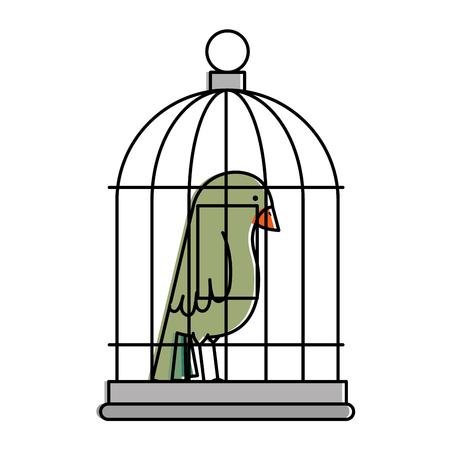 cute bird in cage vector illustration design 스톡 콘텐츠 - 96044494