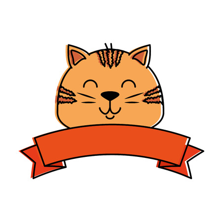 cute cat head mascot with ribbon vector illustration design