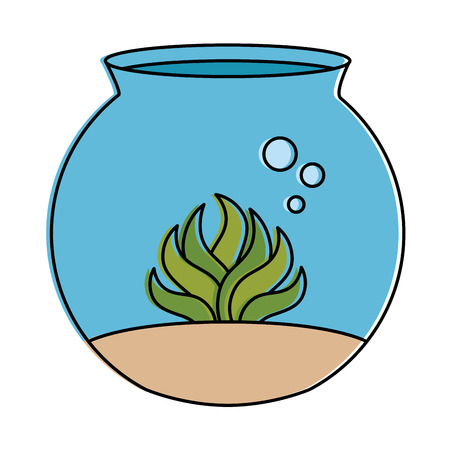 aquarium bowl with algae vector illustration design Reklamní fotografie - 96044615