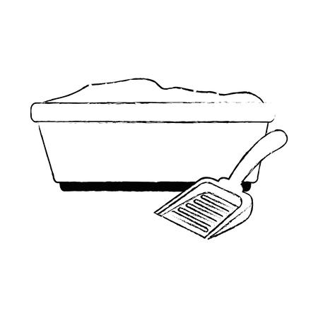 sandbox cat with shovel vector illustration design