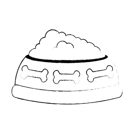 dish pet with food vector illustration design
