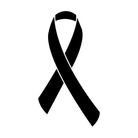 awareness ribbon icon image vector illustration design  black and white