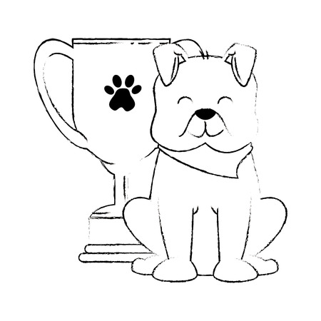 cute dog with trophy cup mascot vector illustration design
