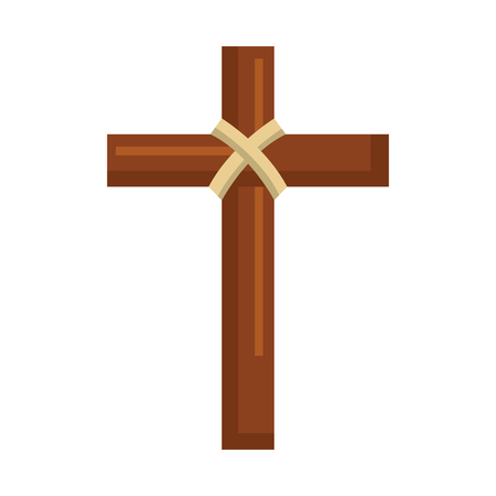 religious wooden cross christianity symbol vector illustration Banco de Imagens - 96046444