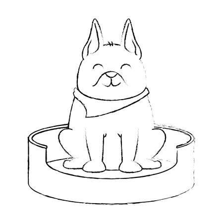 Perro lindo en el diseño de ilustración de vector de mascota de patinaje Foto de archivo - 96046686