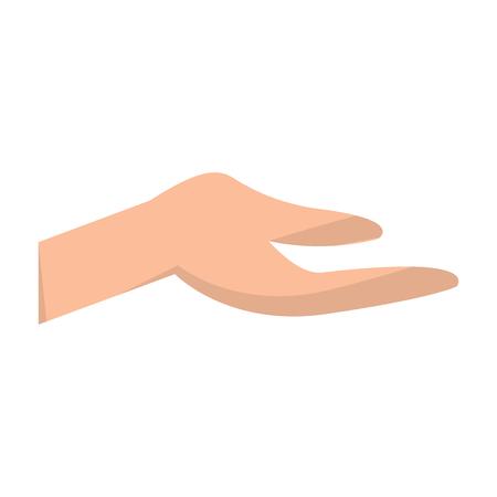 human hand extended open help gesture vector illustration Ilustração