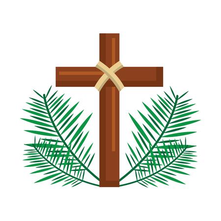 święty krzyż religijny z ilustracji wektorowych gałęzi liści