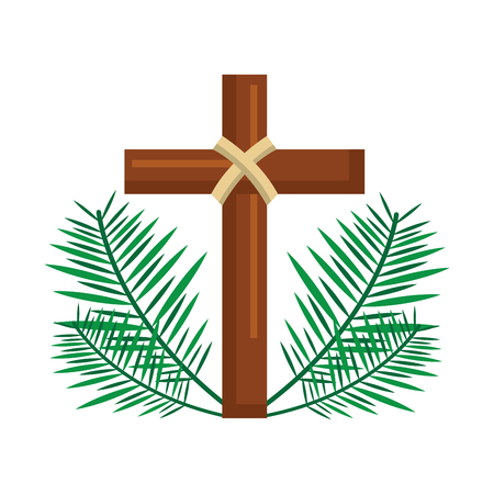 sacred cross religious with frond branches vector illustration