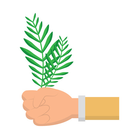 hands holding leaves palm traditional vector illustration