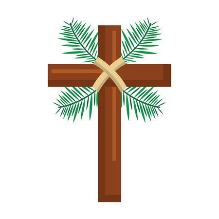 traditional branch palm christian cross symbol vector illustration Vettoriali
