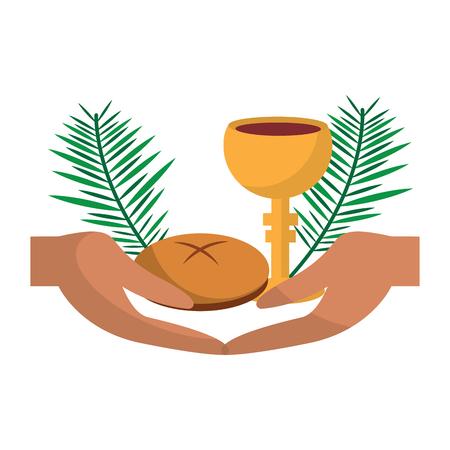 katolicka tradycja ręka kubek chleba graal i ilustracja wektorowa gałązka palmowa