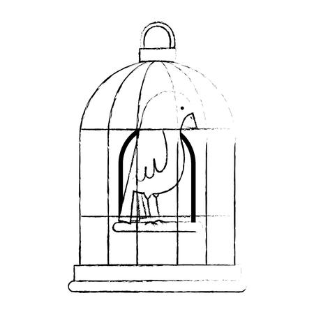 ケージベクトルイラストデザインでかわいい鳥  イラスト・ベクター素材