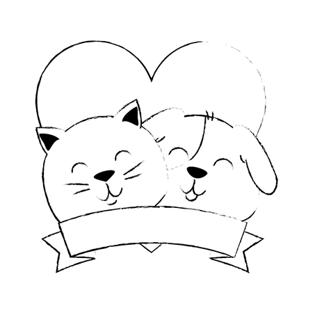 cute dog and cat with ribbon vector illustration design Stock Vector - 96046803