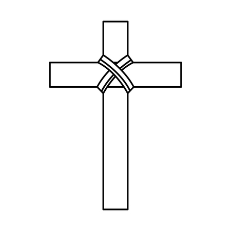 religious wooden cross christianity symbol vector illustration outline design Ilustração