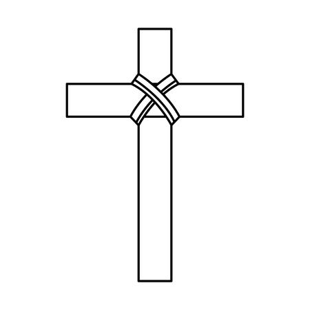 religious wooden cross christianity symbol vector illustration outline design Illustration