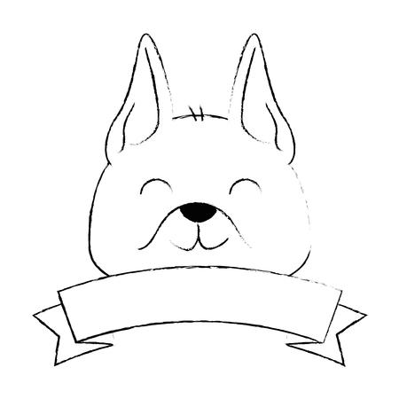 cute dog mascot head with ribbon vector illustration design
