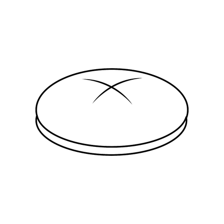bread round loaf served as a meal accompaniment vector illustration outline design