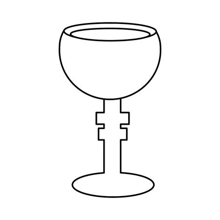 legendary christian bowl holy grail vector illustration outline design