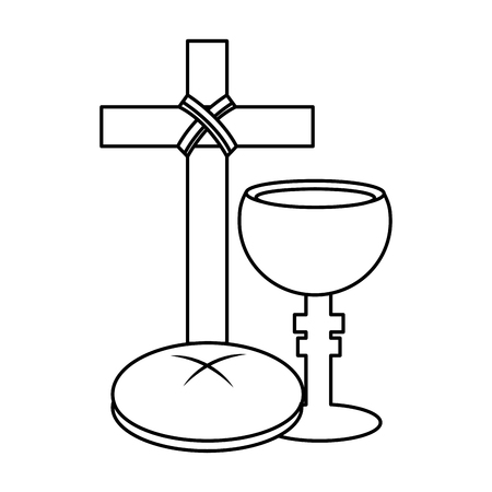holy week catholic tradition cross breand and grail vector illustration outline design Çizim