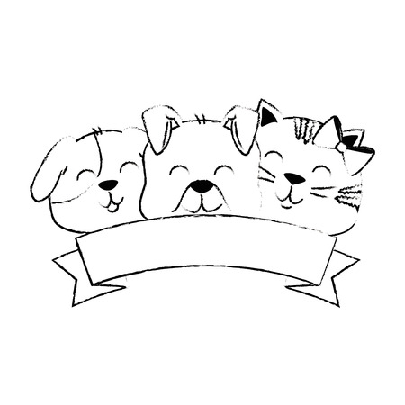 cute dog and cat with ribbon vector illustration design Stock Vector - 96046816