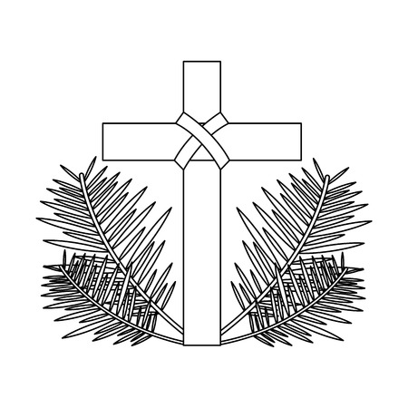 sacred cross religious with frond branches vector illustration outline design