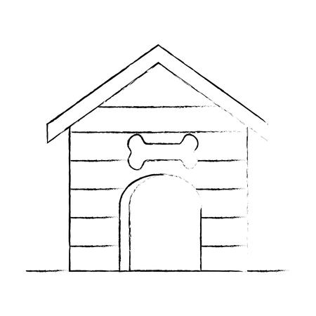 wooden pet house icon vector illustration design