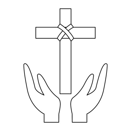 hands praying the sacred cross christianity vector illustration outline design Stock Illustratie