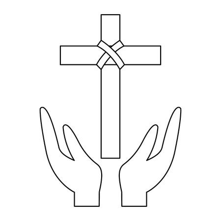 hands praying the sacred cross christianity vector illustration outline design Illustration