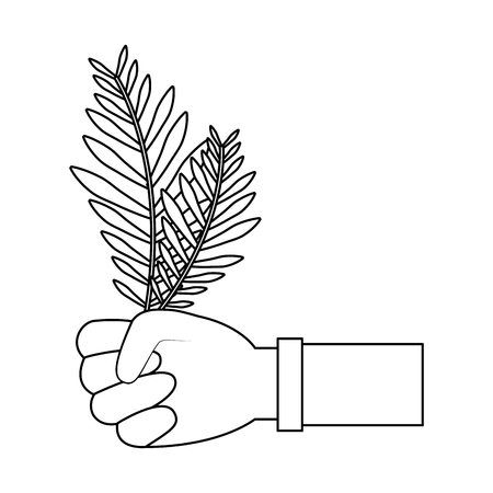 hands holding leaves palm traditional vector illustration outline design Illustration