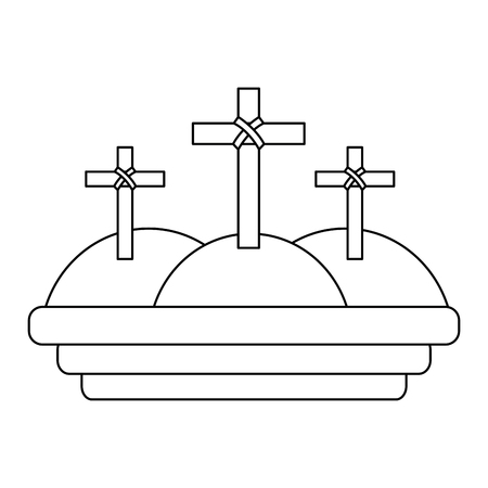 three crosses in the mountain religious scene vector illustration outline design
