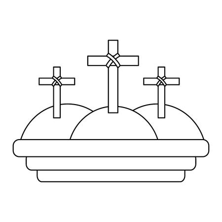 three crosses in the mountain religious scene vector illustration outline design