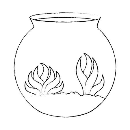藻ベクトルイラストデザインの水族館ボウル  イラスト・ベクター素材