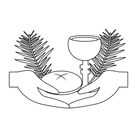 catholic tradition hand bread cup grail and palm branch vector illustration outline design Vectores