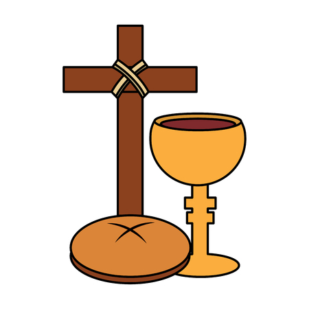 holy week catholic tradition cross breand and grail vector illustration Imagens - 96047001