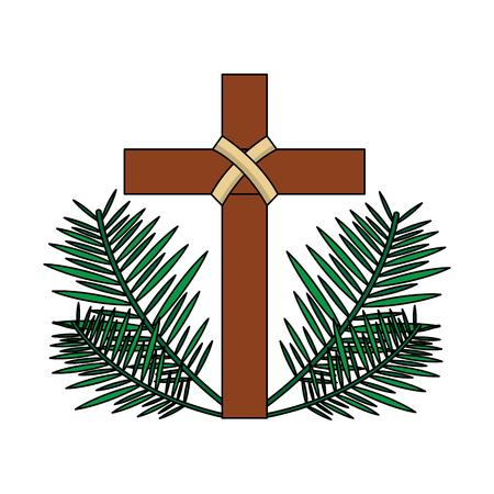 Heiliges Kreuz religiösen mit Wedel Zweige Vektor-Illustration Standard-Bild - 96068775