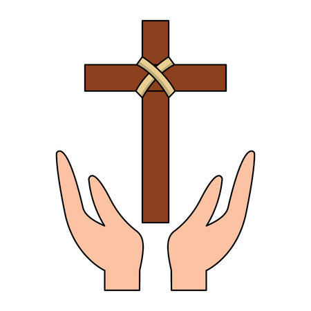 hands praying the sacred cross christianity vector illustration Stock Illustratie