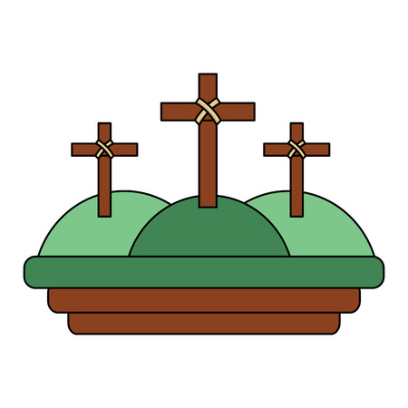 three crosses in the mountain religious scene vector illustration Çizim