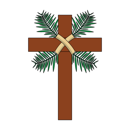 traditional branch palm christian cross symbol vector illustration Vettoriali