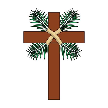 traditional branch palm christian cross symbol vector illustration Stock Illustratie