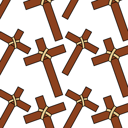 seamless pattern sacred cross catholic symbol vector illustration