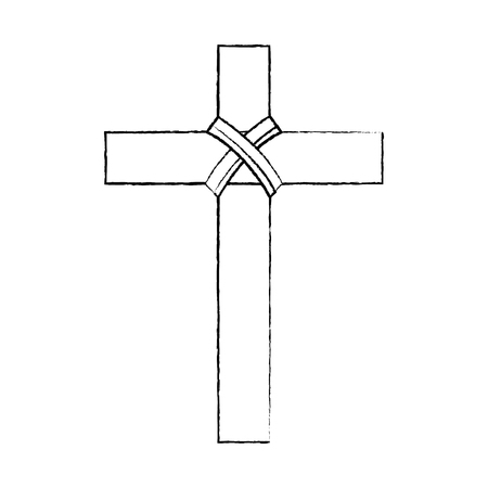 religious wooden cross christianity symbol vector illustration sketch design