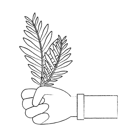 hands holding leaves palm traditional vector illustration sketch design