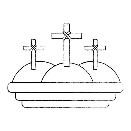three crosses in the mountain religious scene vector illustration sketch design Illustration